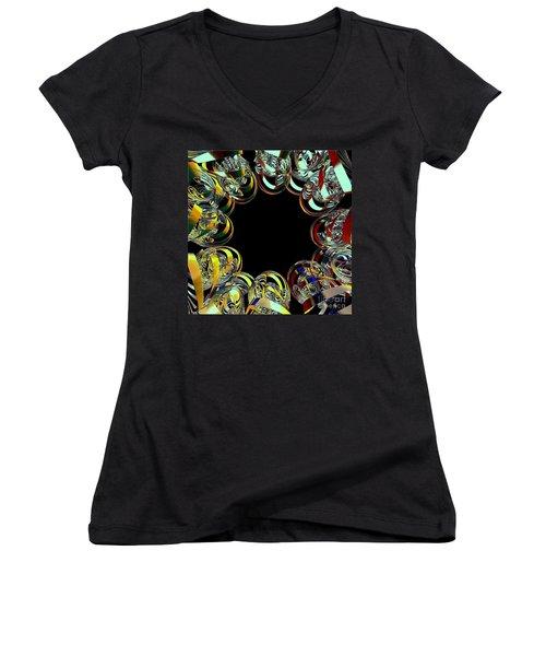 U Of M Robot Huddle Women's V-Neck T-Shirt (Junior Cut) by Greg Moores