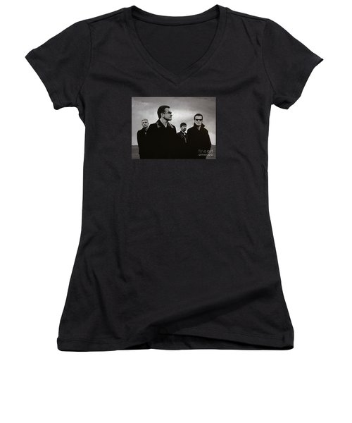 U2 Women's V-Neck T-Shirt (Junior Cut) by Paul Meijering
