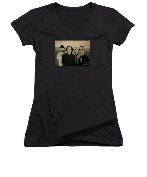 U2 Silver And Gold Women's V-Neck T-Shirt (Junior Cut) by Paul Meijering