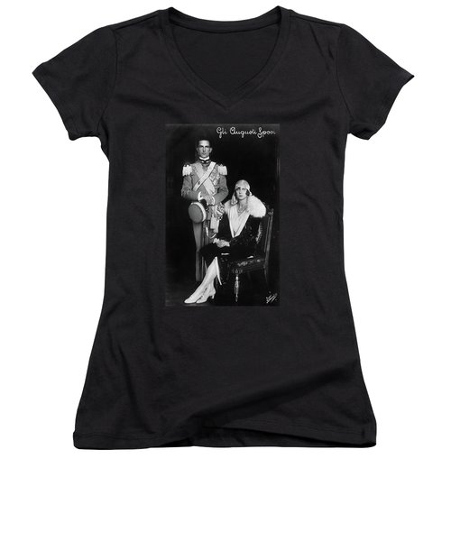 Women's V-Neck T-Shirt (Junior Cut) featuring the photograph Umberto II And Marie Jose by Granger