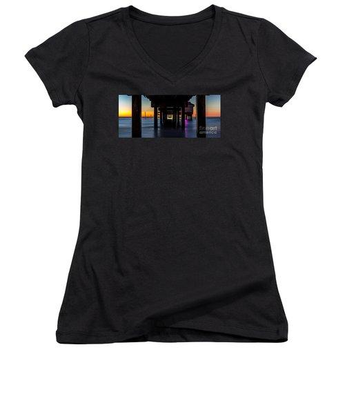 Under Clearwater Beach Pier Women's V-Neck T-Shirt