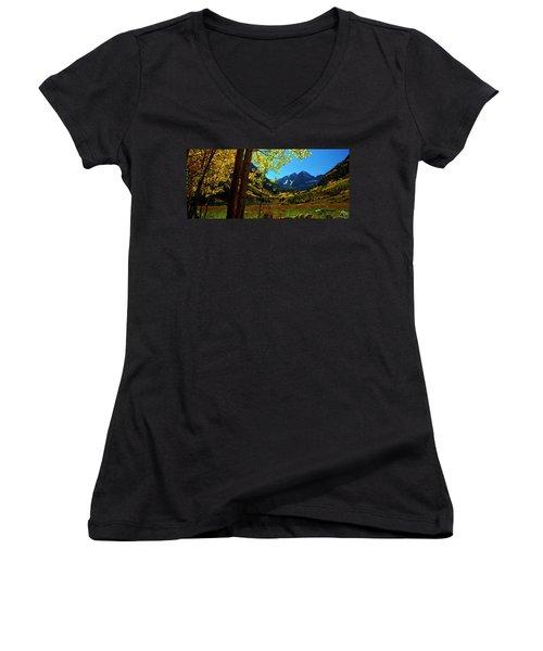 Under Golden Trees Women's V-Neck T-Shirt (Junior Cut) by Jeremy Rhoades