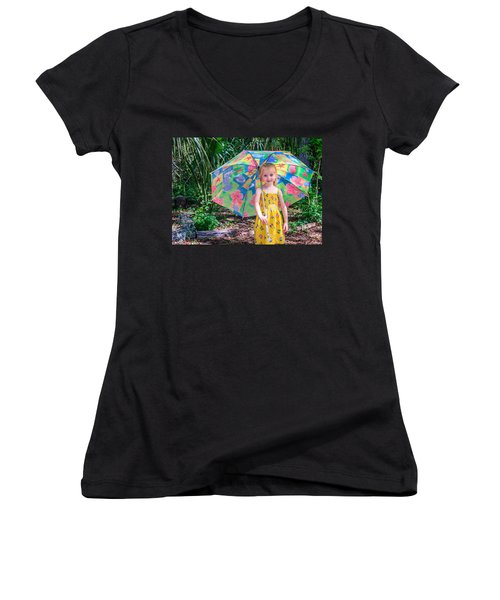 Women's V-Neck T-Shirt (Junior Cut) featuring the photograph Under My Umbrella by Rob Sellers