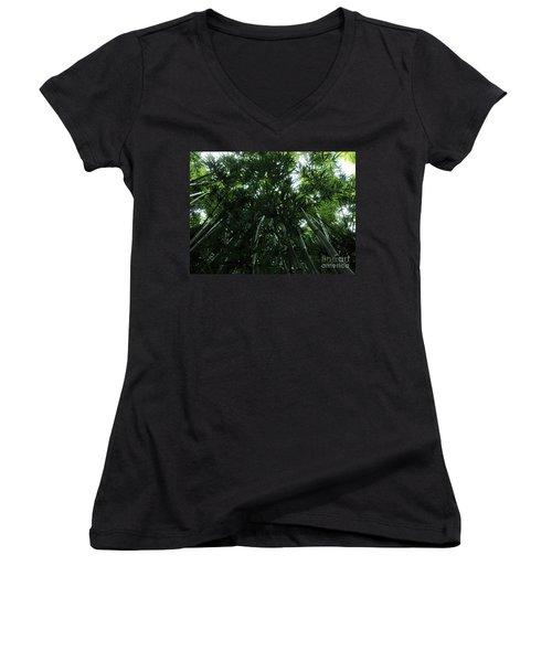 Under The Bamboo Haleakala National Park  Women's V-Neck T-Shirt (Junior Cut) by Vivian Christopher