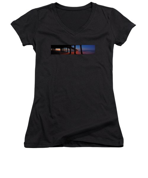 Under The Gulf State Pier  Women's V-Neck T-Shirt (Junior Cut) by Michael Thomas