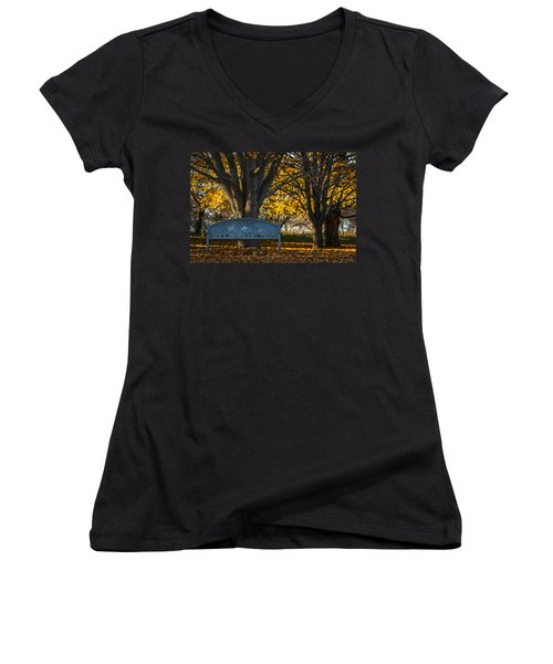 Women's V-Neck T-Shirt (Junior Cut) featuring the photograph Under The Tree by Sebastian Musial
