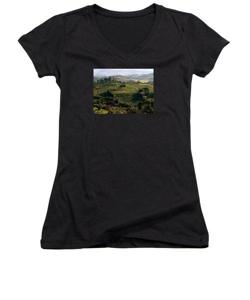 Under The Tuscan Sun Women's V-Neck T-Shirt (Junior Cut) by Ira Shander