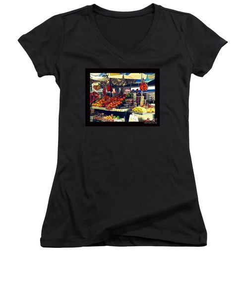 Women's V-Neck T-Shirt (Junior Cut) featuring the photograph Under The Umbrellas by Miriam Danar