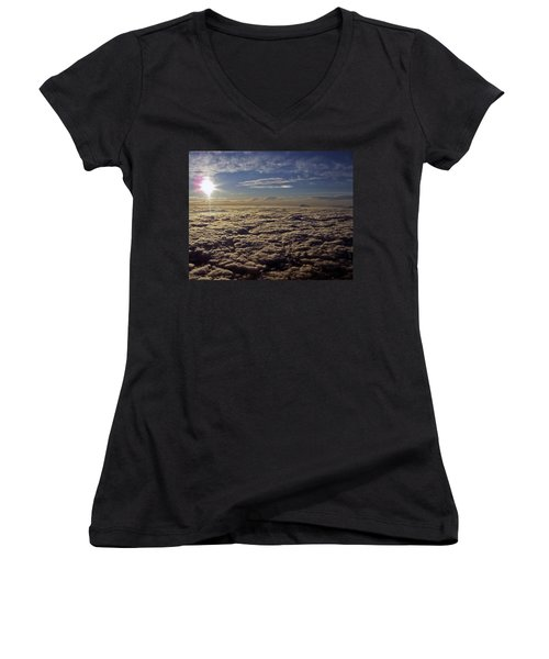Women's V-Neck T-Shirt (Junior Cut) featuring the photograph Undercast And Sun by Greg Reed
