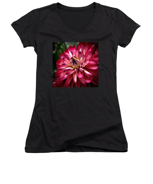 Dahlia Unfolding Women's V-Neck T-Shirt (Junior Cut) by Athena Mckinzie
