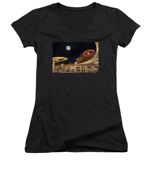 Union Station Denver Under A Full Moon Women's V-Neck T-Shirt