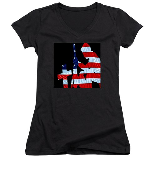 A Time To Remember United States Flag With Kneeling Soldier Silhouette Women's V-Neck (Athletic Fit)