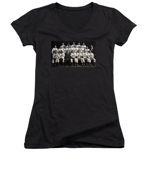 University Of Michigan - 1953 College Baseball National Champion Women's V-Neck T-Shirt (Junior Cut) by Mountain Dreams