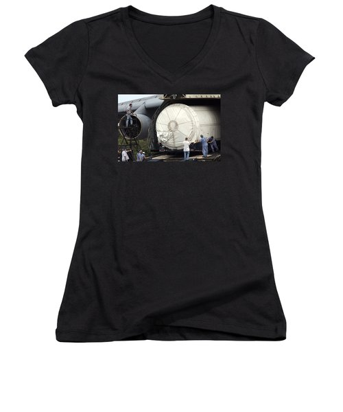 Women's V-Neck T-Shirt (Junior Cut) featuring the photograph Unloading A Titan Ivb Rocket by Science Source