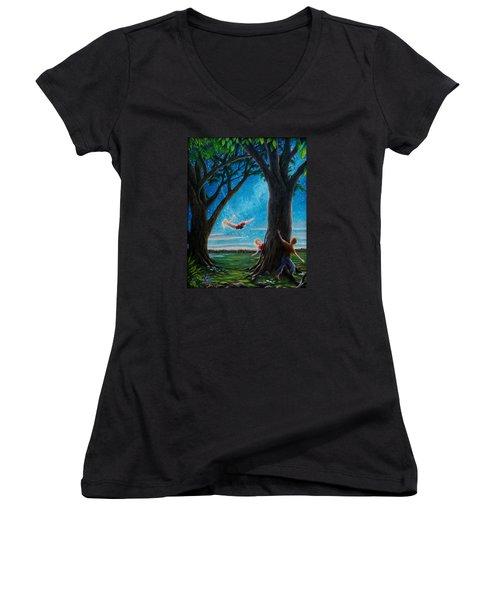 Innocence  Women's V-Neck T-Shirt (Junior Cut) by Matt Konar