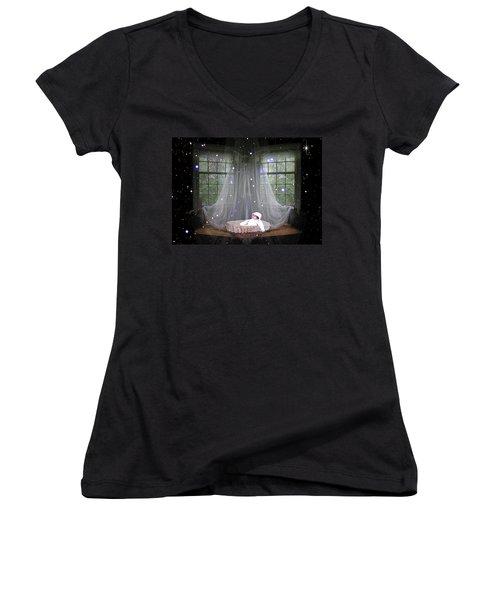 Unto Us A Child Is Born Women's V-Neck T-Shirt (Junior Cut) by Paula Ayers