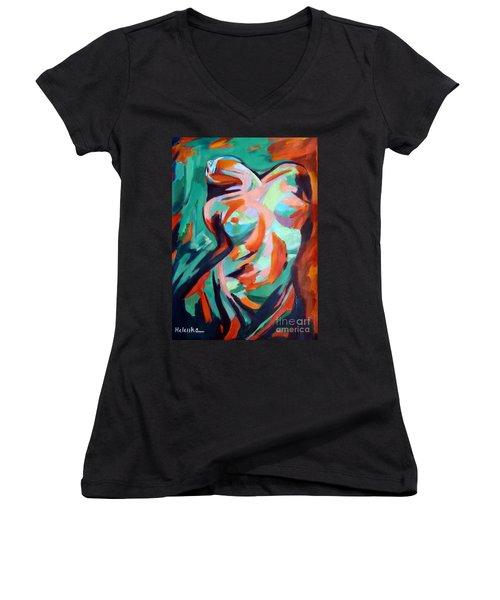 Uplift Women's V-Neck T-Shirt (Junior Cut) by Helena Wierzbicki