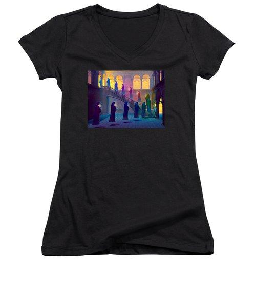 Uplifting Prayer Women's V-Neck T-Shirt (Junior Cut) by Dave Luebbert