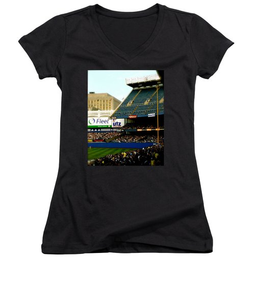 Upper Deck  The Yankee Stadium Women's V-Neck T-Shirt (Junior Cut) by Iconic Images Art Gallery David Pucciarelli