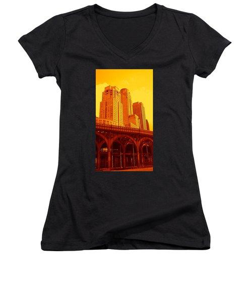 Upper West Side And Hudson River Manhattan Women's V-Neck
