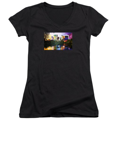 Women's V-Neck T-Shirt (Junior Cut) featuring the painting Urban Reflections by Al Brown