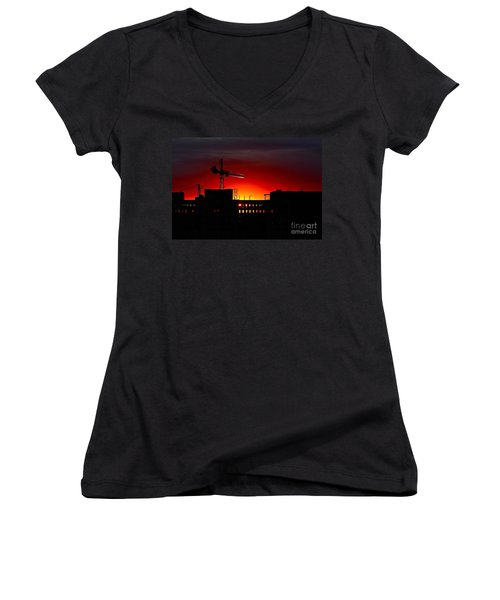 Women's V-Neck T-Shirt (Junior Cut) featuring the photograph Urban Sunrise by Linda Bianic