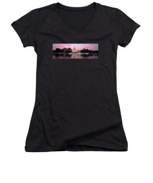 Us Capitol Washington Dc Women's V-Neck T-Shirt (Junior Cut) by Panoramic Images