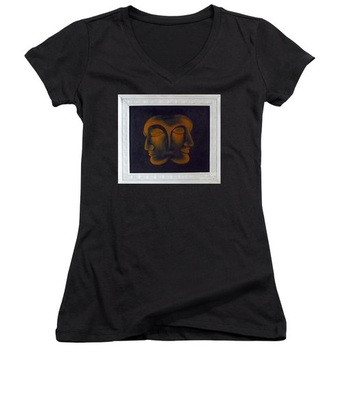Women's V-Neck T-Shirt (Junior Cut) featuring the painting Us by Fei A