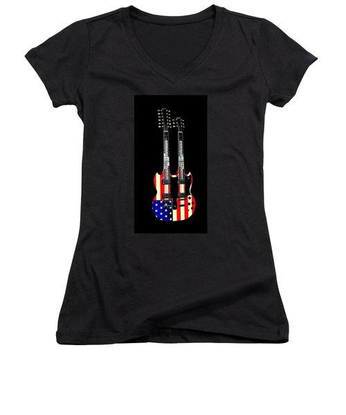 Women's V-Neck T-Shirt (Junior Cut) featuring the photograph U S Flag Gibson Guitar Poster by Jean Goodwin Brooks