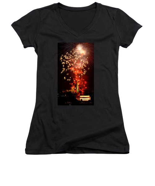 Usa, Washington Dc, Fireworks Women's V-Neck (Athletic Fit)