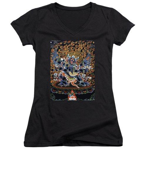 Vajrakilaya Dorje Phurba Women's V-Neck T-Shirt (Junior Cut) by Sergey Noskov