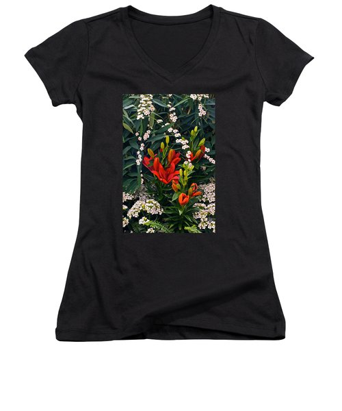 Women's V-Neck featuring the photograph Valentines Are Open Hearts by Byron Varvarigos