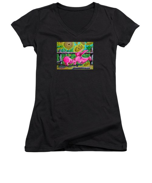 Women's V-Neck T-Shirt (Junior Cut) featuring the painting Van Gogh And Us by Viktor Lazarev