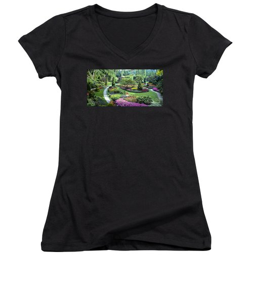 Vancouver Butchart Sunken Gardens Beautiful Flowers No People Panorama Women's V-Neck (Athletic Fit)