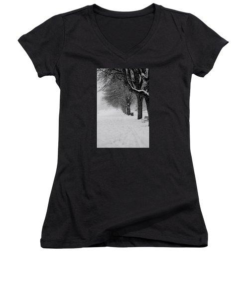 Vancouver Winter Trees Women's V-Neck T-Shirt