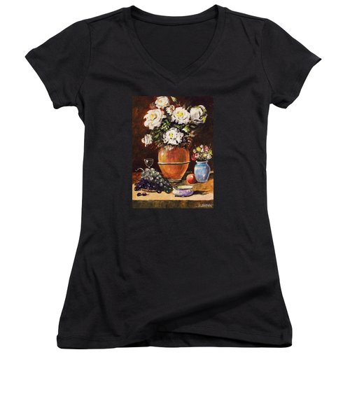 Women's V-Neck T-Shirt (Junior Cut) featuring the painting Vase Of Flowers And Fruit by Al Brown