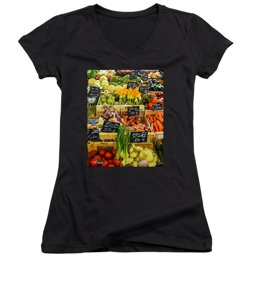Veg At Marche Provencal Women's V-Neck T-Shirt (Junior Cut) by Allen Sheffield