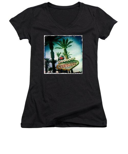 Vegas Women's V-Neck T-Shirt (Junior Cut) by Nina Prommer