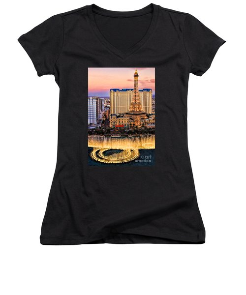 Women's V-Neck T-Shirt (Junior Cut) featuring the photograph Vegas Water Show by Tammy Espino
