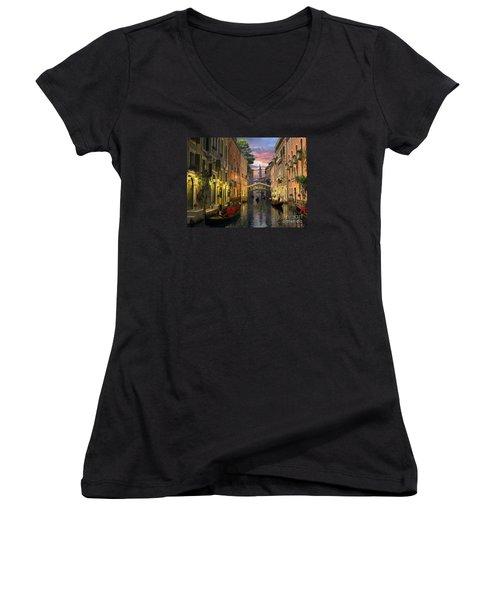 Venice At Dusk Women's V-Neck T-Shirt (Junior Cut) by Dominic Davison