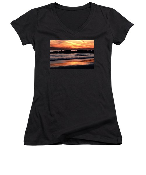 Women's V-Neck T-Shirt (Junior Cut) featuring the photograph Venice Beach Breaker Orange Yellow Sunset by Tom Wurl