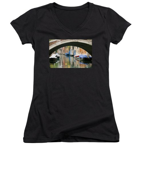 Women's V-Neck T-Shirt (Junior Cut) featuring the photograph Venice Canal Boat by Silvia Bruno