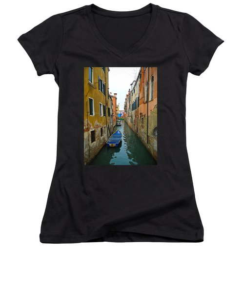 Women's V-Neck T-Shirt (Junior Cut) featuring the photograph Venice Canal by Silvia Bruno