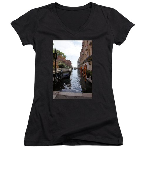 Venice Dock Women's V-Neck T-Shirt (Junior Cut) by Debi Demetrion
