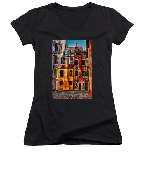Women's V-Neck T-Shirt (Junior Cut) featuring the photograph Venice Homes by Jerry Fornarotto
