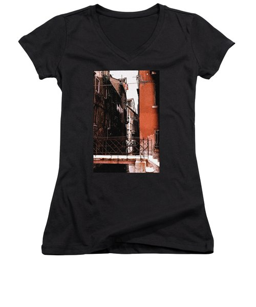 Women's V-Neck T-Shirt (Junior Cut) featuring the photograph A Chapter In Venice by Ira Shander
