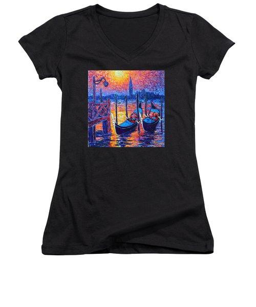 Venice Mysterious Light - Gondolas And San Giorgio Maggiore Seen From Plaza San Marco Women's V-Neck T-Shirt (Junior Cut) by Ana Maria Edulescu