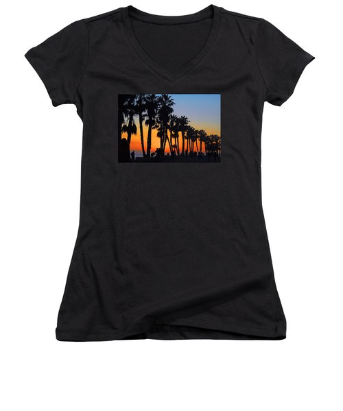 Women's V-Neck T-Shirt (Junior Cut) featuring the photograph Ventura Boardwalk Silhouettes by Lynn Bauer