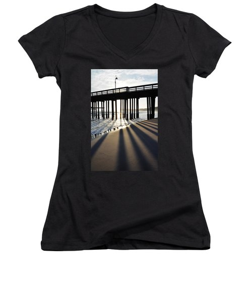Women's V-Neck T-Shirt (Junior Cut) featuring the photograph Ventura Pier Shadows by Kyle Hanson