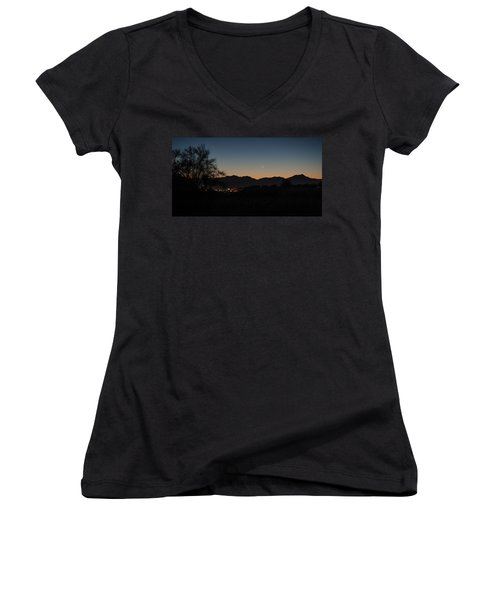 Women's V-Neck T-Shirt (Junior Cut) featuring the photograph Venus And A Young Moon Over Tucson by Dan McManus
